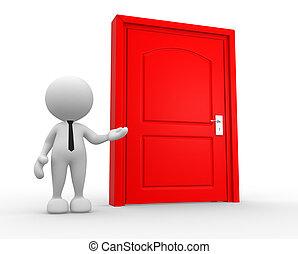 Door - 3d people - man, person and a door.