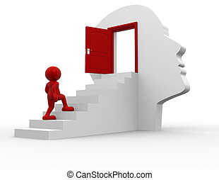 Door - 3d people - human character climbing the stairs to...