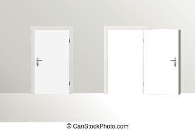 Door Closed Door Open - Closed door and open door. Vector...