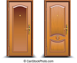 Door closed wood brown, classic design with lock,...