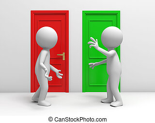 two doors - Door, discuss, two people discuss in front of...