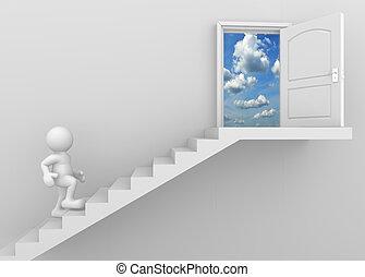 Door - 3d man climbing the stairs to the open door - this is...