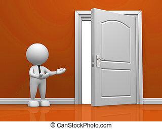 Door - 3d open door in the wall. 3d render