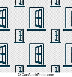 Door, Enter or exit icon sign. Seamless pattern with...