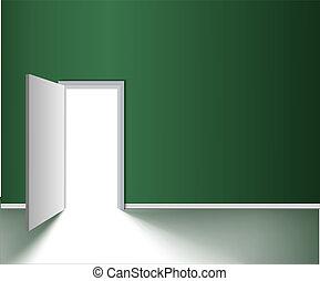DOOR - White opened door in the green wall