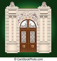 Door  - The door of the building with wrought ornaments