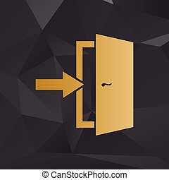 Door Exit sign. Golden style on background with polygons.