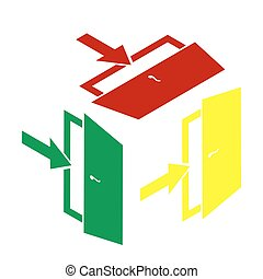 Door Exit sign. Isometric style of red, green and yellow icon.