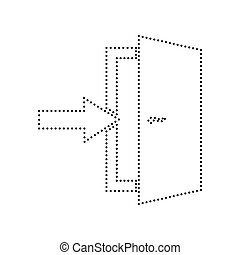 Door Exit sign. Vector. Black dotted icon on white background. Isolated.
