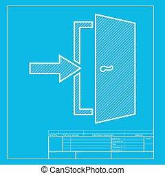 Door Exit sign. White section of icon on blueprint template.