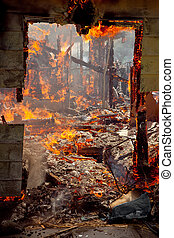 Door frame of a House on fire - Door frame of a House...