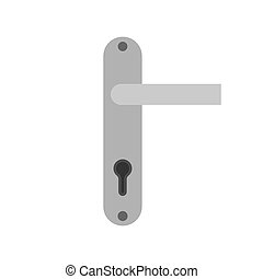 Door handle architecture security symbol exit vector icon. Detail conept flat access lock knob home