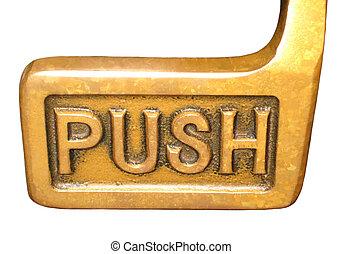 Door handle - Brass door push handle isolated