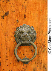 Door handle in the shape of a lion