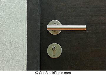 Door handle on wooden door