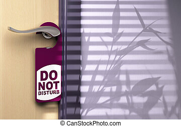 Door handler where its written do not disturb hanged onto a handle color tone is purple there is a wooden door on the left side and room for text at the right side