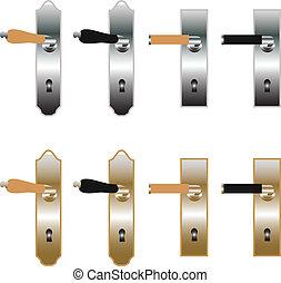 Door handles in bronze and metal