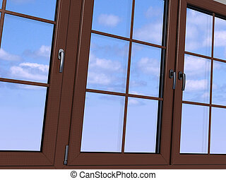 door, hemel, houten, gezien, venster