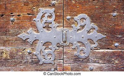 door hinge fitting art of old wooden door