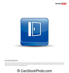 Door Icon - 3d Blue Button