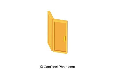 Door animation of cartoon icon on white background