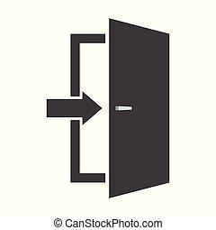 Door icon. Emergency exit sign