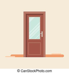 Door icon in flat style