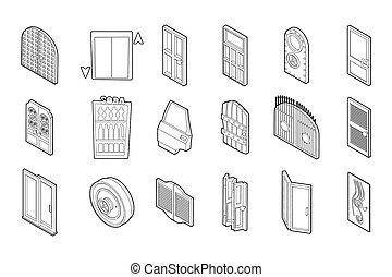 Door icon set, outline style