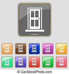 Door icon sign. Set with eleven colored buttons for your site. Vector