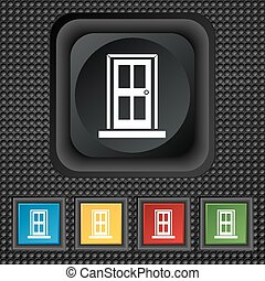 Door icon sign. symbol Squared colourful buttons on black texture. Vector