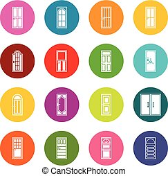 Door icons many colors set