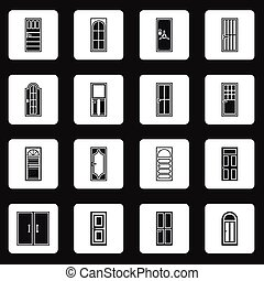 Door icons set in simple style