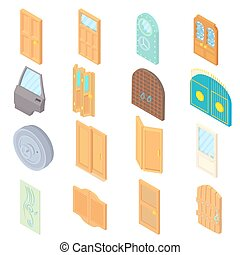 Door icons set, isometric 3d style