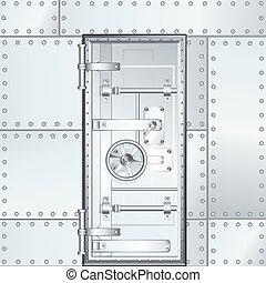 door., ilustración, vector, cerrado, cámara acorazada, banco