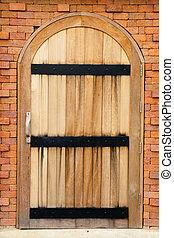 door in an old brick wall