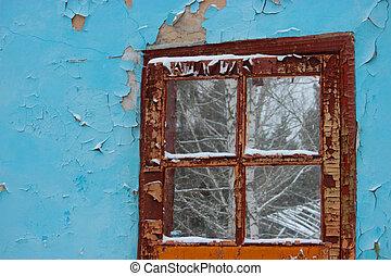 door in an old ruined house
