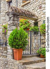 Door in an old stone facade