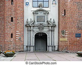 Door in Basilica of The Holy Trinity in Gdansk Oliwa, Poland...