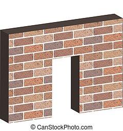 Door in brick wall in 3D