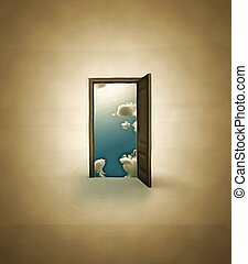 Door in clouds