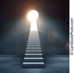 door in form keyhole - concrete ledder to door in form...