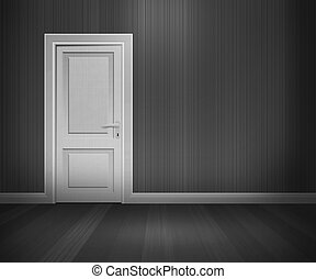 Door in Retro Room Black and White