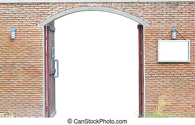 door in the ancient brick wall isolated on white background, clipping path, with blank space board on the right of the door.