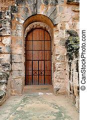 Door in the Ancient Roman amphitheater in El Jem