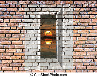Door in the brick wall and sun