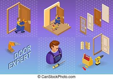 Door installing service. Isometric concept. Worker, equipment.