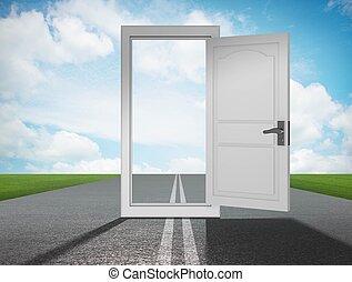 Door into future in opportunities concept