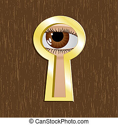 Door keyhole with eye - Door keyhole of golden metal with...