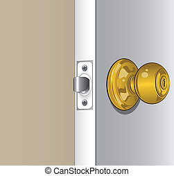 A highly detailed illustration of a door knob.