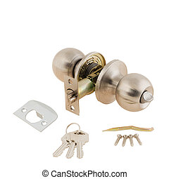Door Knob assembly with bolts and keys on White Background